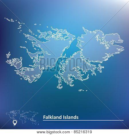 Map of Falkland Islands - vector illustration