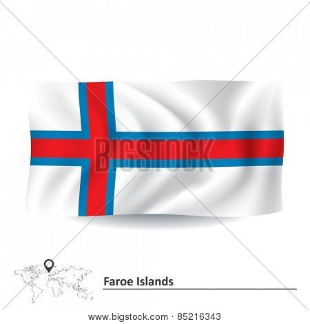 Flag of Faroe Islands - vector illustration
