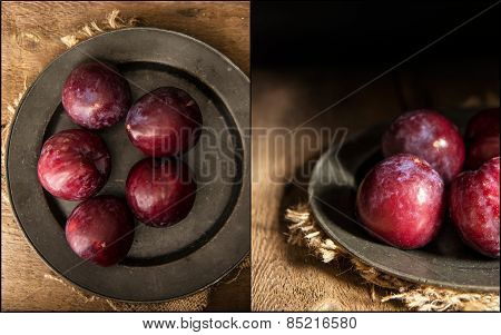 Compilation Of Images Fresh Plums In Moody Natural Lighting Set Up With Vintage Retro Style
