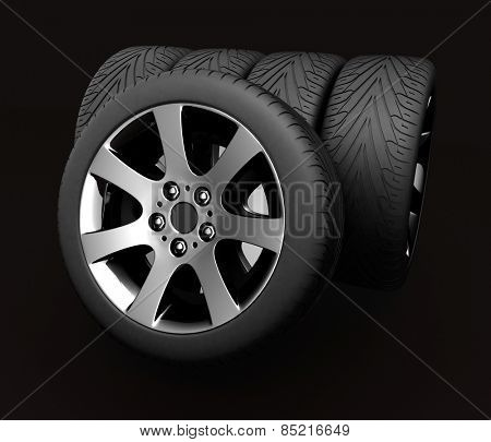 Car Wheels. Concept design. 3D render Illustration on Black Background.