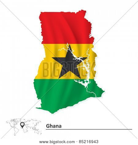 Map of Ghana with flag - vector illustration
