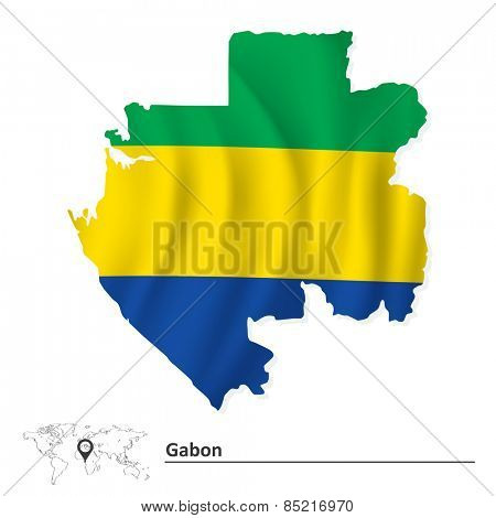 Map of Gabon with flag - vector illustration