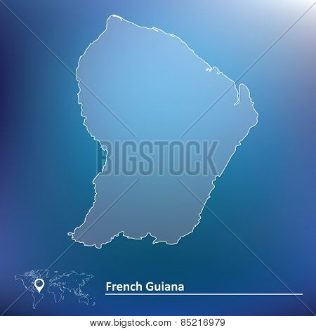 Map of French Guiana - vector illustration