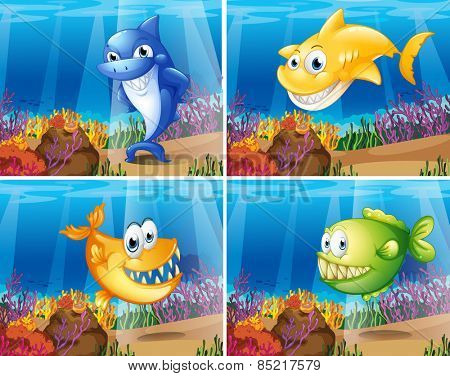 Four scenes of underwater with fish