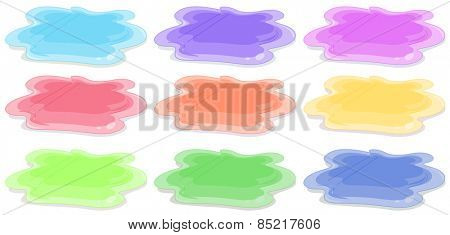 Nine different colors of acrylic painting