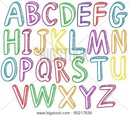 Rainbow english alphabet A to Z