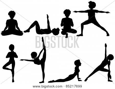 Different positions of yoga silhouette