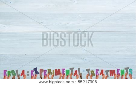 Hands holding up against bleached wooden planks background