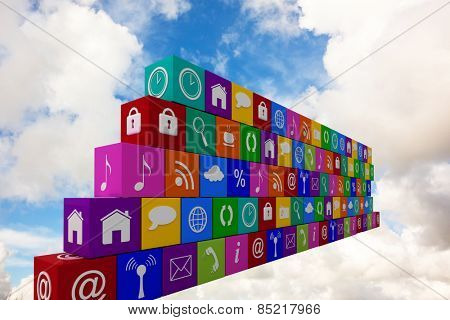 App wall against blue sky with white clouds
