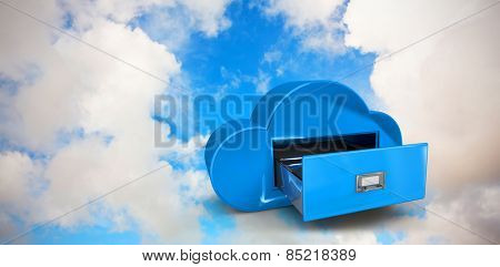 Cloud computing drawer against blue sky with white clouds