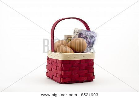 Eggs In Basket With Money