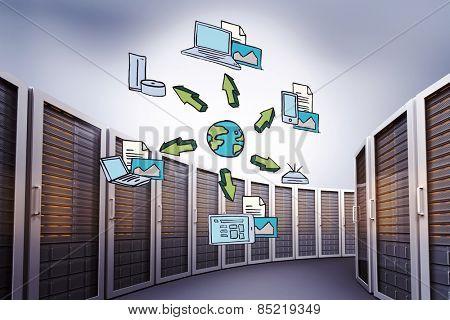 Cloud computing doodle against grey vignette