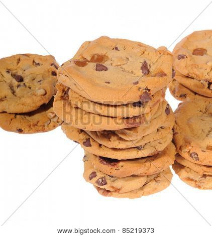chocolate chip and ginger cookies,  isolated on white