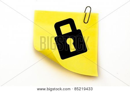 Lock against sticky note with grey paperclip