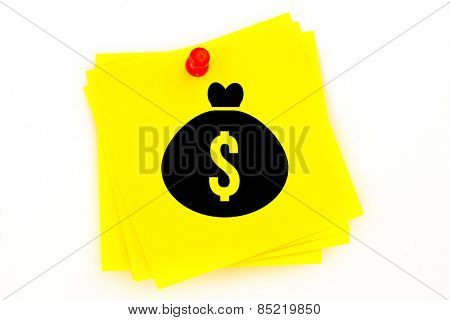 Money bag against sticky note with red pushpin
