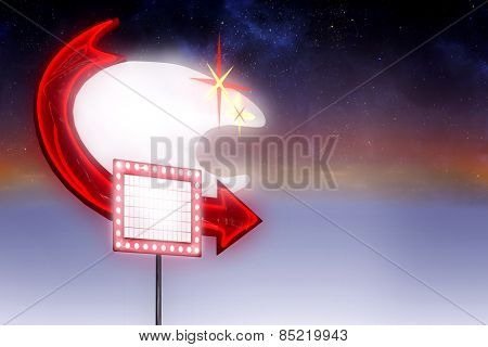 Neon sign with arrow against aurora in night sky