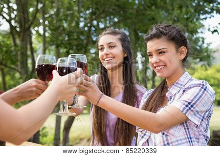 Happy friends in the park having wine on a sunny day