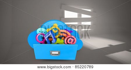 Cloud computing drawer against digitally generated room with bordered up window