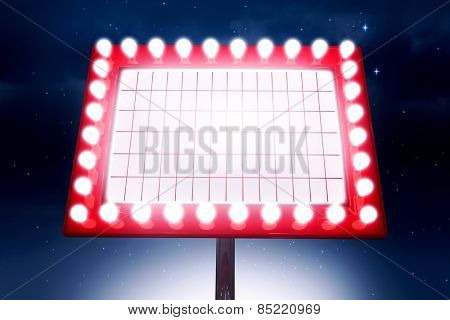 Neon sign against stars twinkling in night sky
