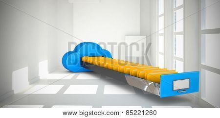 Cloud computing drawer against white room with squares at wall