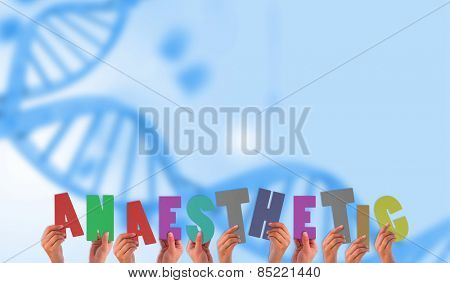 Hands holding up against medical background with blue dna helix
