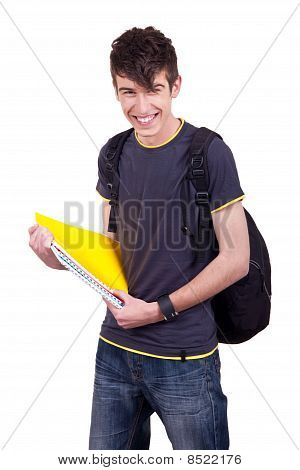 Portrait Of A  Male Student With Books