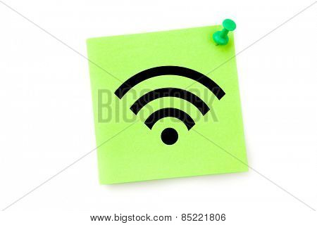 Wifi symbol against green adhesive note
