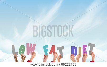 Hands holding up low fat diet against blue sky