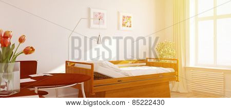 Bright sunny single room in a nursing home with flowers (3D Rendering)