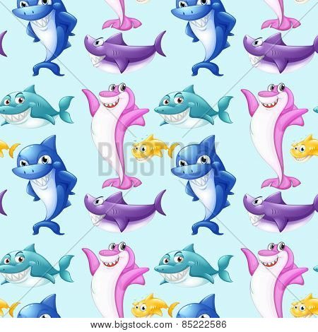 Seamless shark with different colors and positions