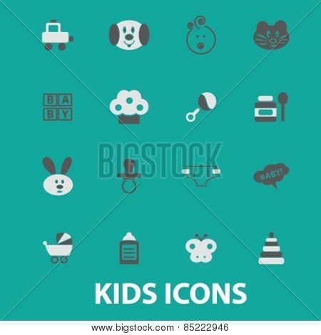 kids, baby, children, toys icons, signs, illustrations concept design set, vector