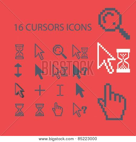 16 cursors, interface, select icons, signs, illustrations concept design set, vector