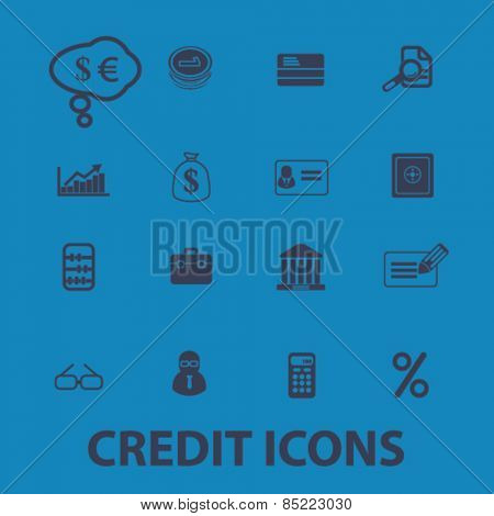 credit, bank, investment icons, signs, illustrations concept design set, vector