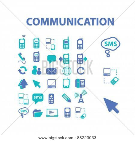 communication, connection, technology, phone icons, signs, illustrations concept design set, vector