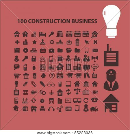 100 construction business, management icons, signs, illustrations concept design set, vector