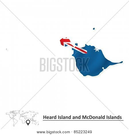 Map of Heard Island and McDonald Islands with flag - vector illustration