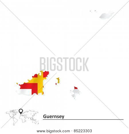 Map of Guernsey with flag - vector illustration