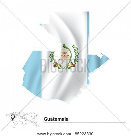 Map of Guatemala with flag - vector illustration