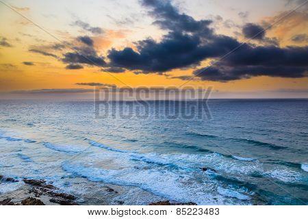 Sunset over Atlantic ocean, fuerteventura
