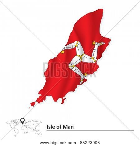 Map of Isle of Man with flag - vector illustration