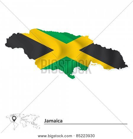 Map of Jamaica with flag - vector illustration