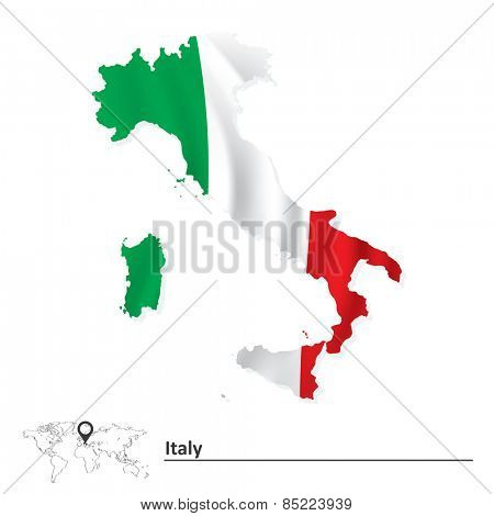 Map of Italy with flag - vector illustration