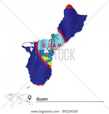 Map of Guam with flag - vector illustration
