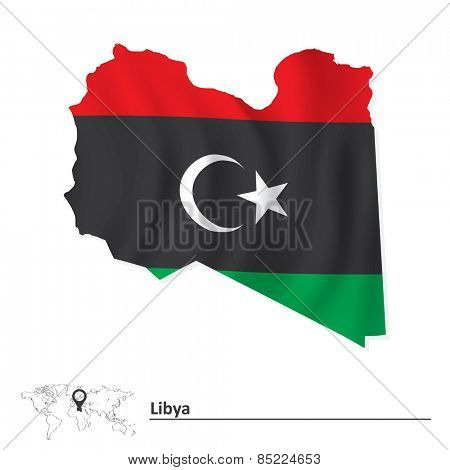 Map of Libya with flag - vector illustration