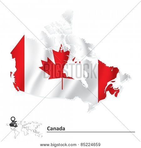 Map of Canada with flag - vector illustration