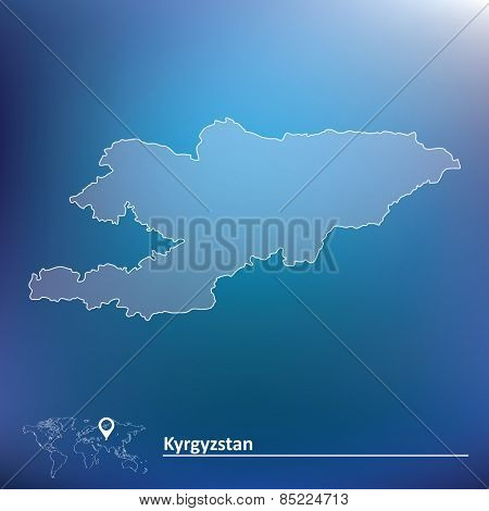 Map of Kyrgyzstan - vector illustration