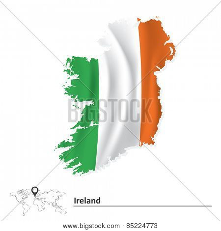 Map of Ireland with flag - vector illustration