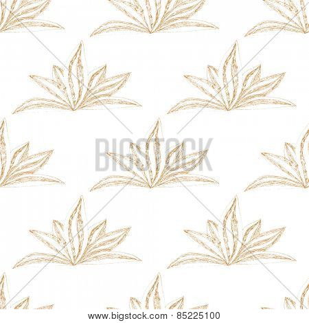 Hand drawn seamless floral pattern with orange flower on white background. Vector illustration.