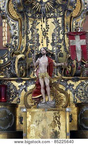 ELLWANGEN, GERMANY - MAY 07: The Risen Christ, Basilica of St. Vitus in Ellwangen, Germany on May 07, 2014.