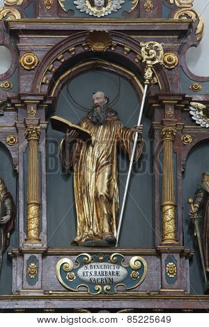 ELLWANGEN, GERMANY - MAY 07: St. Benedict, Basilica of St. Vitus in Ellwangen, Germany on May 07, 2014.